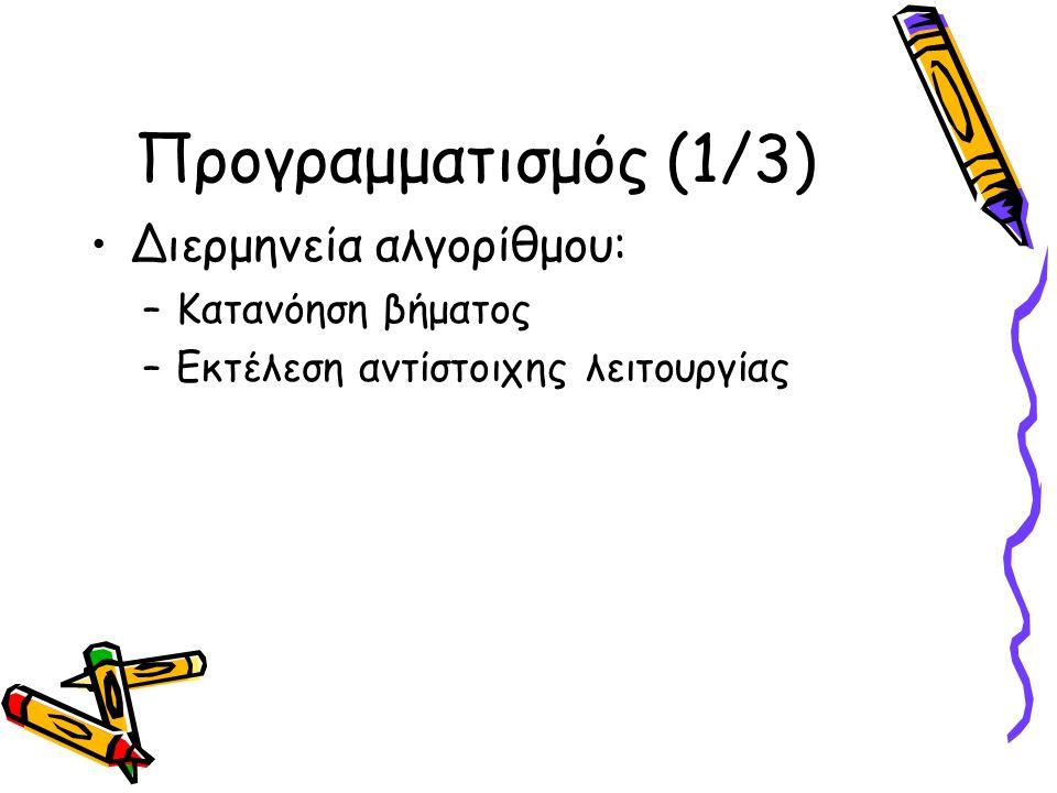 Προγραμματισμός (2/3) Πρόγραμμα: Μορφή στην οποία είναι εκφρασμένος ο αλγόριθμος Γλώσσα προγραμματισμού: Γλώσσα στην οποία είναι γραμμένο ένα πρόγραμμα