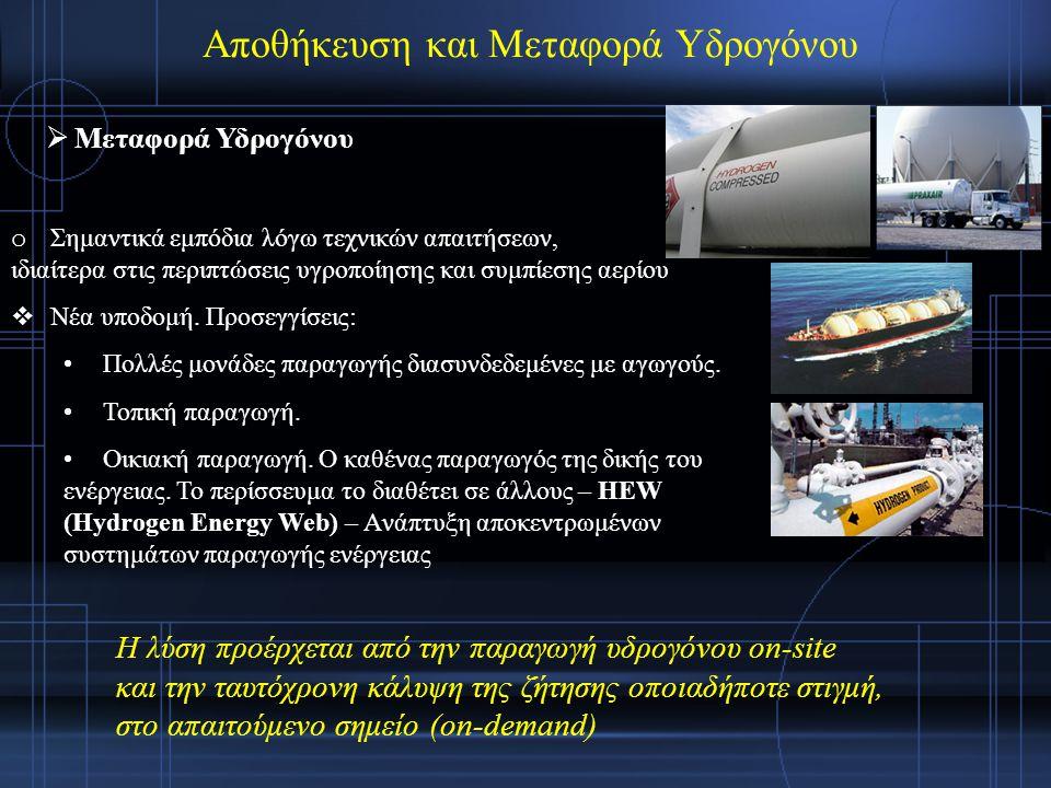 Αποθήκευση και Μεταφορά Υδρογόνου  Μεταφορά Υδρογόνου o Σημαντικά εμπόδια λόγω τεχνικών απαιτήσεων, ιδιαίτερα στις περιπτώσεις υγροποίησης και συμπίεσης αερίου  Νέα υποδομή.