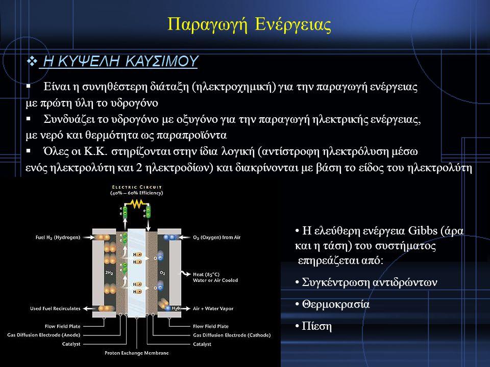  Είναι η συνηθέστερη διάταξη (ηλεκτροχημική) για την παραγωγή ενέργειας με πρώτη ύλη το υδρογόνο  Συνδυάζει το υδρογόνο με οξυγόνο για την παραγωγή ηλεκτρικής ενέργειας, με νερό και θερμότητα ως παραπροϊόντα  Όλες οι Κ.Κ.