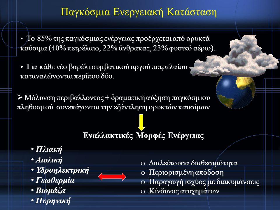 Water will be the coal of the future. -Jules Verne, 1874 Το νερό ως εναλλακτική μορφή ενέργειας - Υδρογόνο  Κυψέλες καυσίμου (Fuel Cells): Μετατροπή του υδρογόνου σε ηλεκτρική και θερμική ενέργεια (Christian Friedrich Schönbein (1838), Stanley Meyer, (1990)) Υδρογόνο  Είναι το πλέον άφθονο στοιχείο στο Σύμπαν  Απαντά σε αφθονία στους υδρογονάνθρακες, στα φυτά και στη βιομάζα Λόγω του Η 2, το Η 2 Ο αποτελεί μια τεράστια δεξαμενή καυσίμου