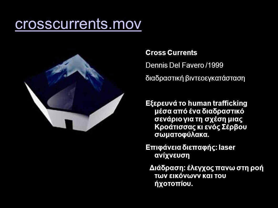 crosscurrents.mov Cross Currents Dennis Del Favero /1999 διαδραστική βιντεοεγκατάσταση Εξερευνά το human trafficking μέσα από ένα διαδραστικό σενάριο για τη σχέση μιας Κροάτισσας κι ενός Σέρβου σωματοφύλακα.