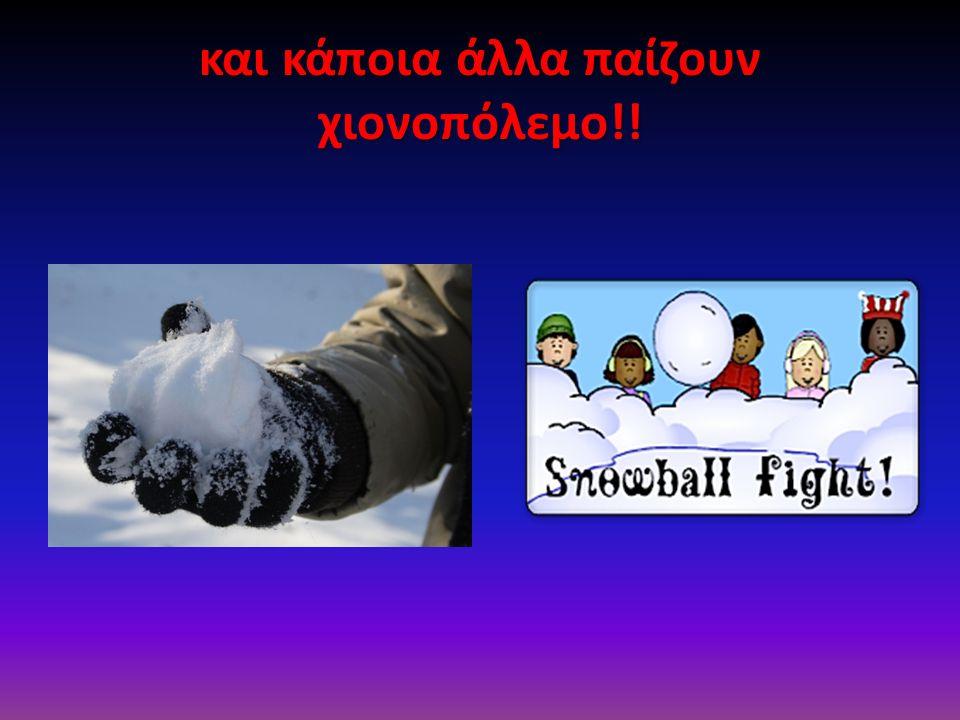 και κάποια άλλα παίζουν χιονοπόλεμο!!