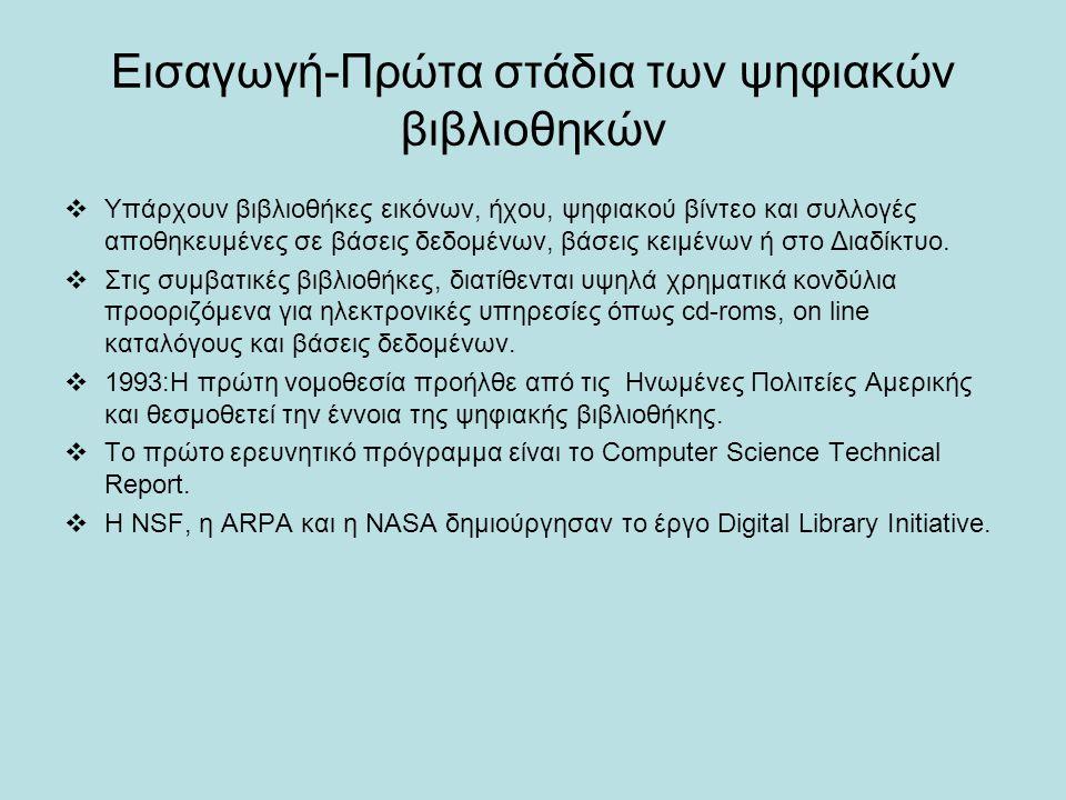 Εισαγωγή-Πρώτα στάδια των ψηφιακών βιβλιοθηκών  Υπάρχουν βιβλιοθήκες εικόνων, ήχου, ψηφιακού βίντεο και συλλογές αποθηκευμένες σε βάσεις δεδομένων, βάσεις κειμένων ή στο Διαδίκτυο.
