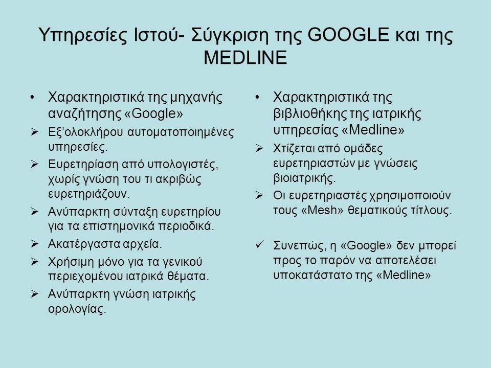 Υπηρεσίες Ιστού- Σύγκριση της GOOGLE και της MEDLINE Χαρακτηριστικά της μηχανής αναζήτησης «Google»  Εξ'ολοκλήρου αυτοματοποιημένες υπηρεσίες.