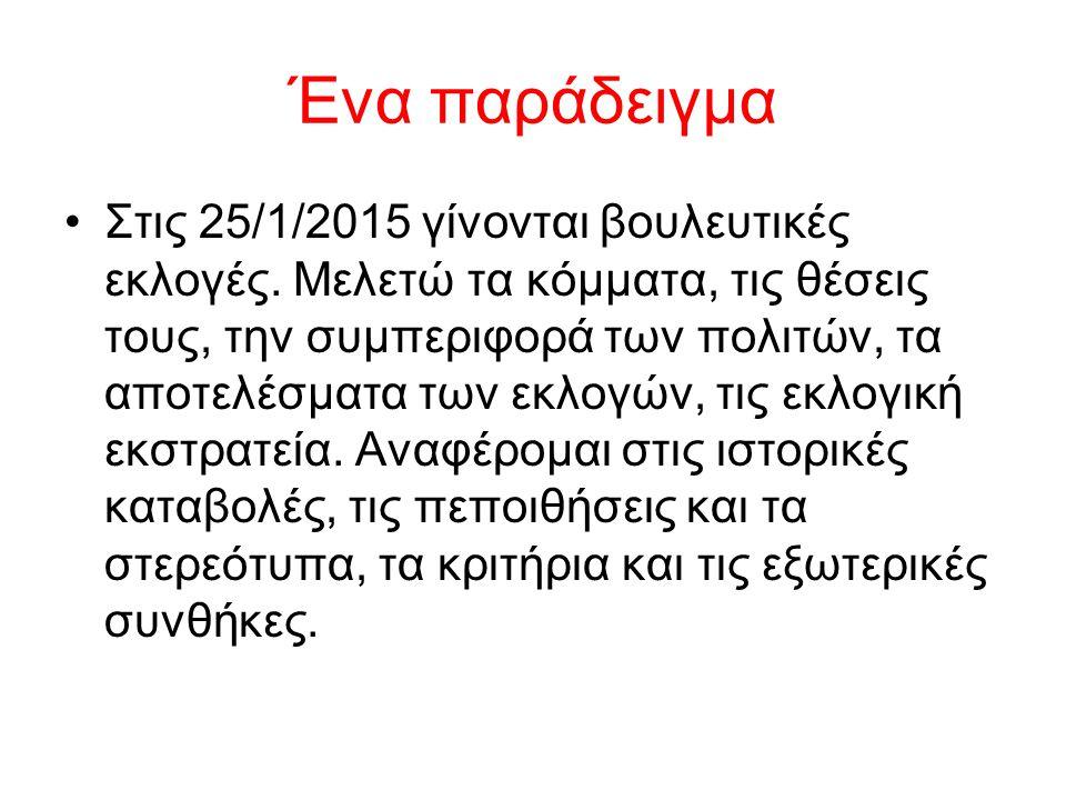 Ένα παράδειγμα Στις 25/1/2015 γίνονται βουλευτικές εκλογές. Μελετώ τα κόμματα, τις θέσεις τους, την συμπεριφορά των πολιτών, τα αποτελέσματα των εκλογ