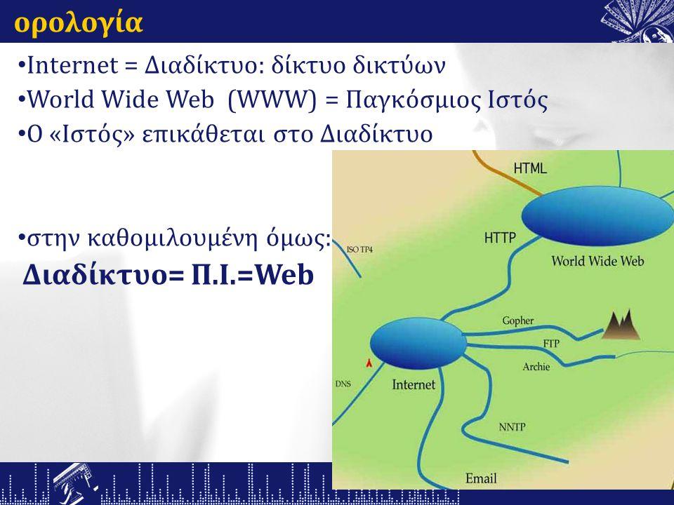 ορολογία Internet = Διαδίκτυο: δίκτυο δικτύων World Wide Web (WWW) = Παγκόσμιος Ιστός O «Ιστός» επικάθεται στο Διαδίκτυο στην καθομιλουμένη όμως: Διαδίκτυο= Π.Ι.=Web