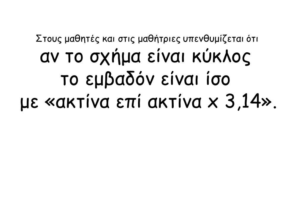 Στους μαθητές και στις μαθήτριες υπενθυμίζεται ότι αν το σχήμα είναι κύκλος το εμβαδόν είναι ίσο με «ακτίνα επί ακτίνα x 3,14».
