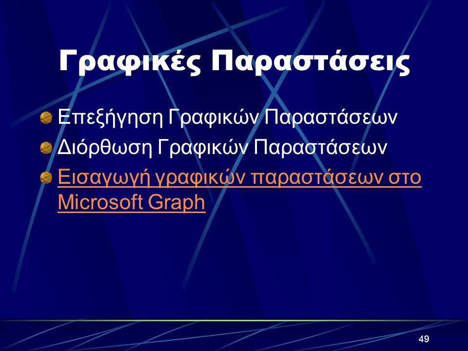 49 Γραφικές Παραστάσεις Επεξήγηση Γραφικών Παραστάσεων Διόρθωση Γραφικών Παραστάσεων Εισαγωγή γραφικών παραστάσεων στο Microsoft Graph