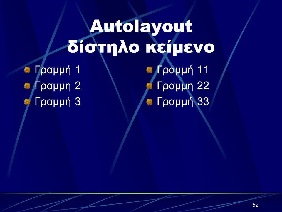 51 Autolayout – Διάταξη Διαφάνειας κείμενο Γραμμή 1 Γραμμή 2 Γραμμή 3