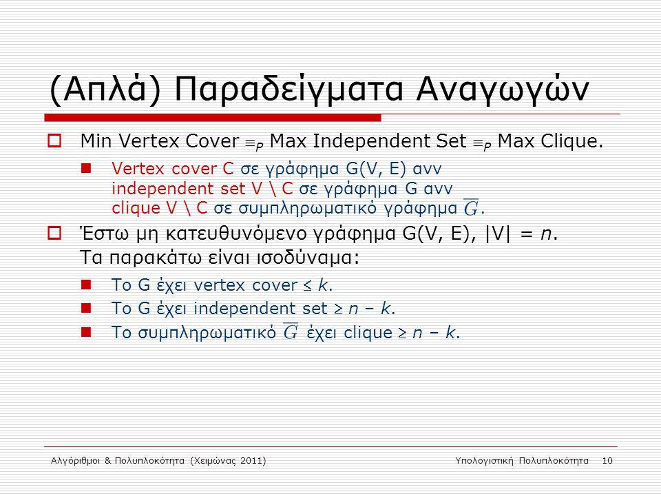 Αλγόριθμοι & Πολυπλοκότητα (Χειμώνας 2011)Υπολογιστική Πολυπλοκότητα 10 (Απλά) Παραδείγματα Αναγωγών  Min Vertex Cover  P Max Independent Set  P Max Clique.