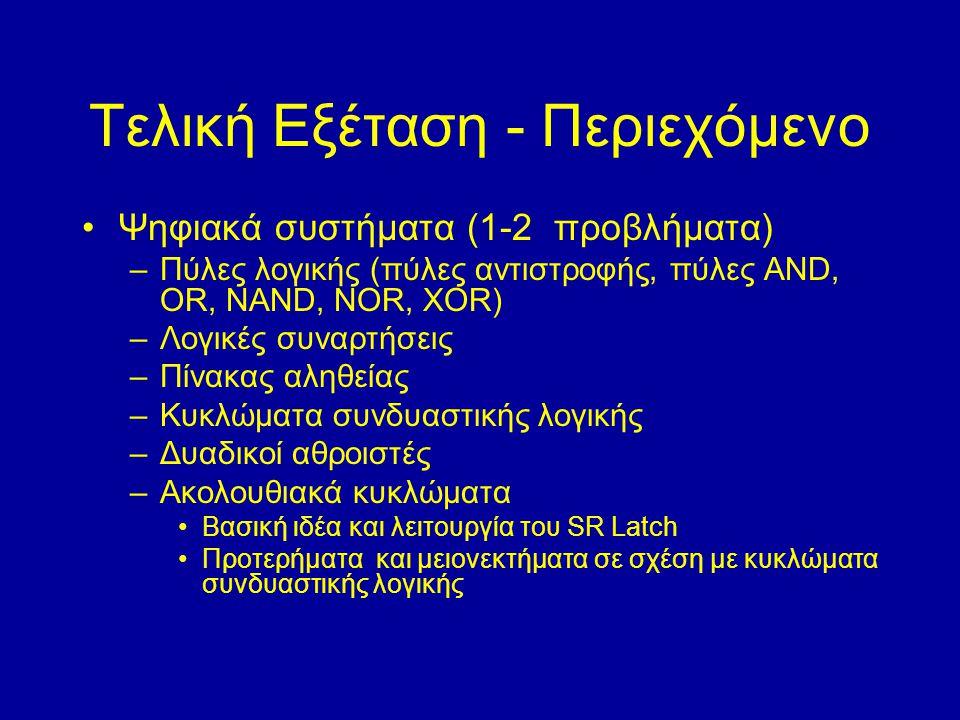 Τελική Εξέταση - Περιεχόμενο Ψηφιακά συστήματα (1-2 προβλήματα) –Πύλες λογικής (πύλες αντιστροφής, πύλες AND, OR, NAND, NOR, XOR) –Λογικές συναρτήσεις –Πίνακας αληθείας –Κυκλώματα συνδυαστικής λογικής –Δυαδικοί αθροιστές –Ακολουθιακά κυκλώματα Βασική ιδέα και λειτουργία του SR Latch Προτερήματα και μειονεκτήματα σε σχέση με κυκλώματα συνδυαστικής λογικής