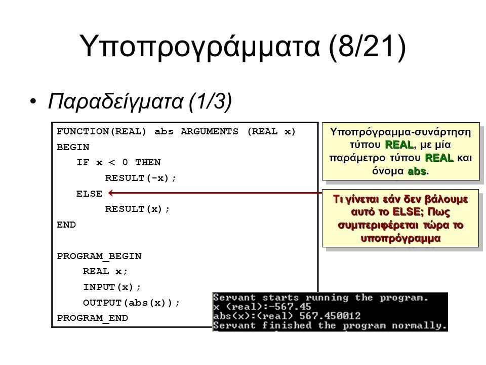 Υποπρογράμματα (8/21) Παραδείγματα (1/3) FUNCTION(REAL) abs ARGUMENTS (REAL x) BEGIN IF x < 0 THEN RESULT(-x); ELSE RESULT(x); END PROGRAM_BEGIN REAL x; INPUT(x); OUTPUT(abs(x)); PROGRAM_END Υποπρόγραμμα-συνάρτηση τύπου REAL, με μία παράμετρο τύπου REAL και όνομα abs.