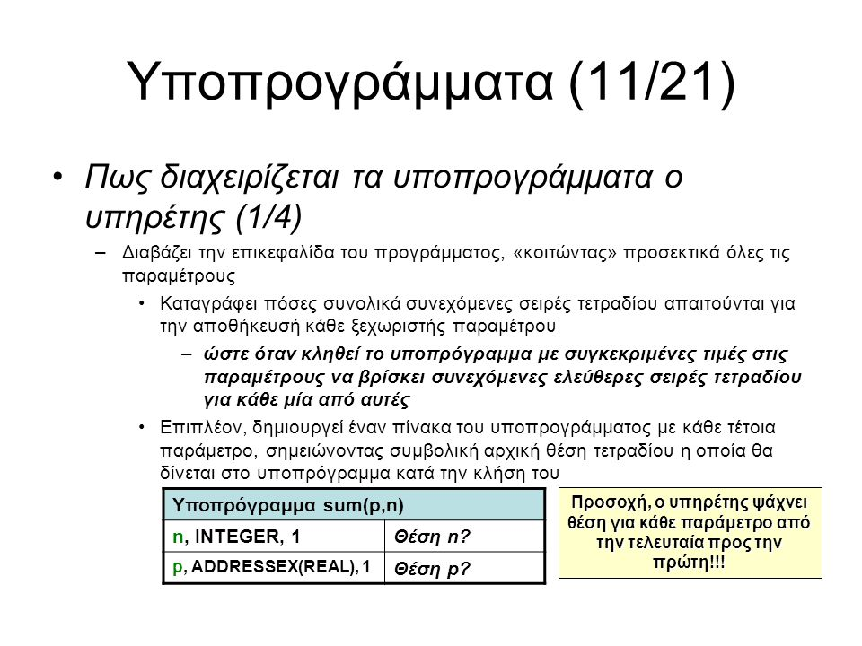 Υποπρογράμματα (11/21) Πως διαχειρίζεται τα υποπρογράμματα ο υπηρέτης (1/4) –Διαβάζει την επικεφαλίδα του προγράμματος, «κοιτώντας» προσεκτικά όλες τις παραμέτρους Καταγράφει πόσες συνολικά συνεχόμενες σειρές τετραδίου απαιτούνται για την αποθήκευσή κάθε ξεχωριστής παραμέτρου –ώστε όταν κληθεί το υποπρόγραμμα με συγκεκριμένες τιμές στις παραμέτρους να βρίσκει συνεχόμενες ελεύθερες σειρές τετραδίου για κάθε μία από αυτές Επιπλέον, δημιουργεί έναν πίνακα του υποπρογράμματος με κάθε τέτοια παράμετρο, σημειώνοντας συμβολική αρχική θέση τετραδίου η οποία θα δίνεται στο υποπρόγραμμα κατά την κλήση του Υποπρόγραμμα sum(p,n) n, INTEGER, 1Θέση n.