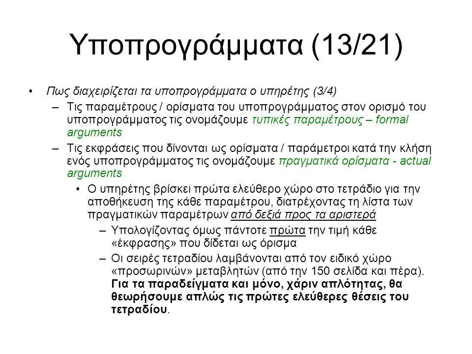Υποπρογράμματα (13/21) Πως διαχειρίζεται τα υποπρογράμματα ο υπηρέτης (3/4) –Τις παραμέτρους / ορίσματα του υποπρογράμματος στον ορισμό του υποπρογράμματος τις ονομάζουμε τυπικές παραμέτρους – formal arguments –Τις εκφράσεις που δίνονται ως ορίσματα / παράμετροι κατά την κλήση ενός υποπρογράμματος τις ονομάζουμε πραγματικά ορίσματα - actual arguments Ο υπηρέτης βρίσκει πρώτα ελεύθερο χώρο στο τετράδιο για την αποθήκευση της κάθε παραμέτρου, διατρέχοντας τη λίστα των πραγματικών παραμέτρων από δεξιά προς τα αριστερά –Υπολογίζοντας όμως πάντοτε πρώτα την τιμή κάθε «έκφρασης» που δίδεται ως όρισμα –Οι σειρές τετραδίου λαμβάνονται από τον ειδικό χώρο «προσωρινών» μεταβλητών (από την 150 σελίδα και πέρα).