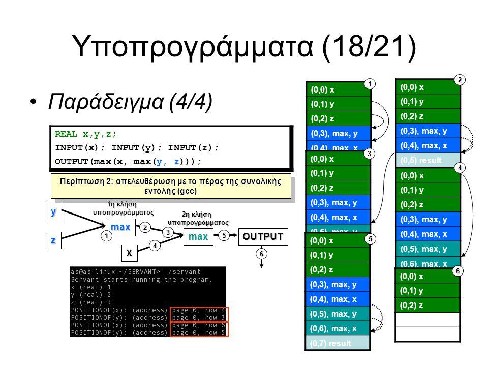 Υποπρογράμματα (18/21) Παράδειγμα (4/4) REAL x,y,z; INPUT(x); INPUT(y); INPUT(z); OUTPUT(max(x, max(y, z))); (0,0) x (0,1) y (0,2) z (0,3), max, y (0,4), max, x (0,0) x (0,1) y (0,2) z (0,3), max, y (0,4), max, x (0,5) result (0,0) x (0,1) y (0,2) z (0,3), max, y (0,4), max, x (0,5), max, y (0,0) x (0,1) y (0,2) z (0,3), max, y (0,4), max, x (0,5), max, y (0,6), max, x 1 2 4 3 (0,0) x (0,1) y (0,2) z (0,3), max, y (0,4), max, x (0,5), max, y (0,6), max, x (0,7) result 5 (0,0) x (0,1) y (0,2) z y z max max x 1η κλήση υποπρογράμματος 2η κλήση υποπρογράμματος OUTPUT 1 2 3 4 5 6 6 Περίπτωση 2: απελευθέρωση με τo πέρας της συνολικής εντολής (gcc)