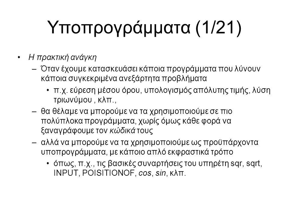 Υποπρογράμματα (12/21) Πως διαχειρίζεται τα υποπρογράμματα ο υπηρέτης (2/4) –To σώμα» ενός υποπρογράμματος είναι ουσιαστικά ένα block από εντολές και το αντιμετωπίζει ακριβώς όπως γνωρίζουμε.