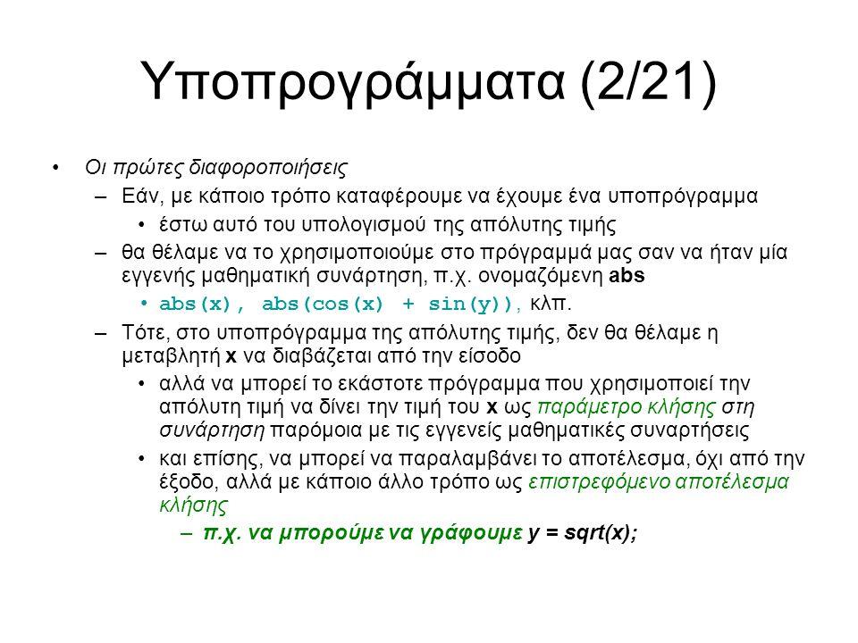 Υποπρογράμματα (3/21) Τα υποπρογράμματα είναι δύο τύπων: –Αυτά που επιστρέφουν κάποιο αποτέλεσμα μετά τη διεργασία που επιτελούν, όπως η sqrt και sqr Αυτά ονομάζονται συναρτήσεις – functions –Αυτά που δεν επιστρέφουν κάποιο αποτέλεσμα, απλώς επιτελούν κάποια συγκεκριμένη χρήσιμη διεργασία, όπως η INPUT και OUTPUT Αυτά ονομάζονται διαδικασίες - procedures