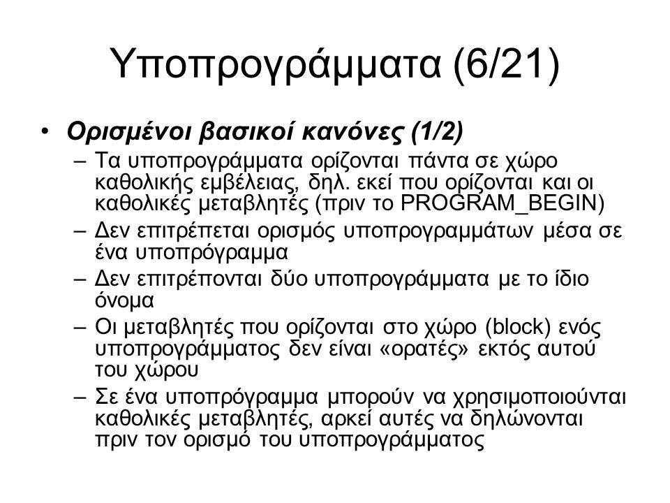 Υποπρογράμματα (7/21) Ορισμένοι βασικοί κανόνες (2/2) –Τα ονόματα μεταβλητών, τύπων της FLIP, λέξεων κλειδιών, τύπων που ορίζετε εσείς και ονομάτων υποπρογραμμάτων δεν μπορούν να είναι τα ίδια (πρέπει να «ξεχωρίζουν» με κάποιο τρόπο) –Σε ένα υποπρόγραμμα μπορούν να χρησιμοποιούνται άλλα υποπρογράμματα (τουλάχιστον αυτά που ορίζονται πιο πριν, αλλά θα δούμε και άλλες περιπτώσεις) –Σε ένα υποπρόγραμμα μπορείτε να χρησιμοποιήσετε τύπους RECORD που έχουν οριστεί πιο πριν –Η ύπαρξη μίας FINISH δεν είναι υποχρεωτική, καθώς μία procedure τελειώνει όταν τελειώνει το block της (default exit) –Αλλά η ύπαρξη μίας RESULT είναι αναγκαία πάντα για να επιστρέφεται κάποιο αποτέλεσμα