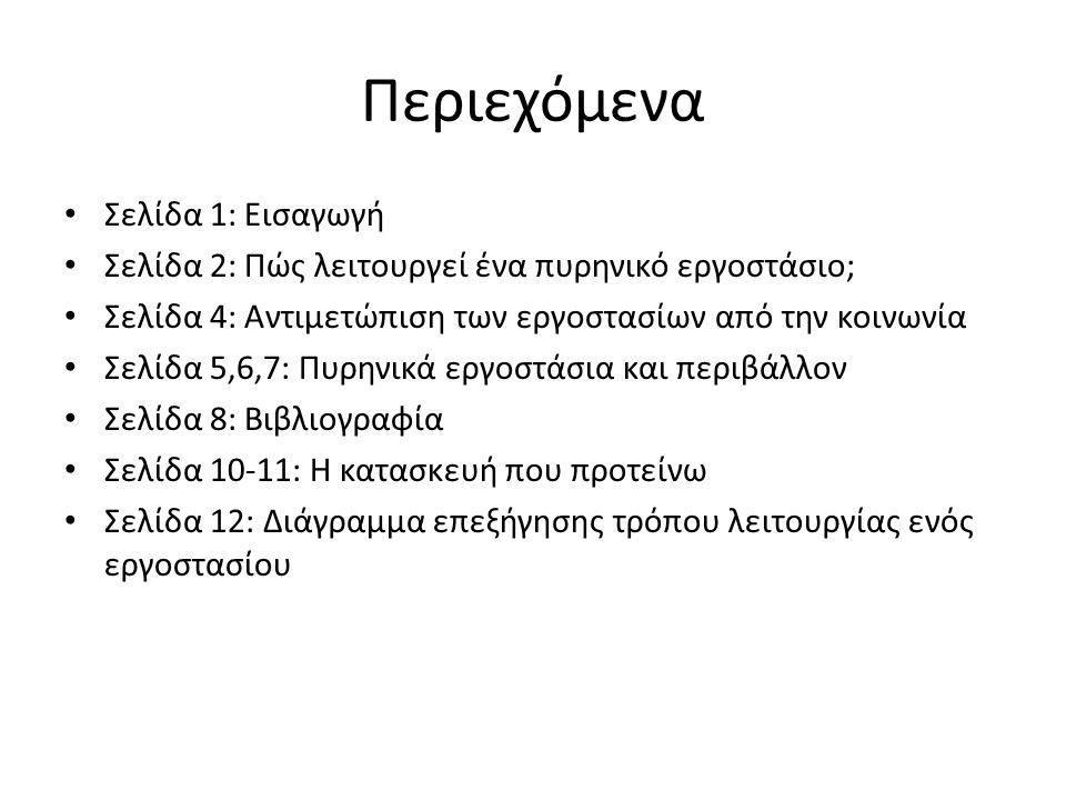 Περιεχόμενα Σελίδα 1: Εισαγωγή Σελίδα 2: Πώς λειτουργεί ένα πυρηνικό εργοστάσιο; Σελίδα 4: Αντιμετώπιση των εργοστασίων από την κοινωνία Σελίδα 5,6,7: Πυρηνικά εργοστάσια και περιβάλλον Σελίδα 8: Βιβλιογραφία Σελίδα 10-11: Η κατασκευή που προτείνω Σελίδα 12: Διάγραμμα επεξήγησης τρόπου λειτουργίας ενός εργοστασίου