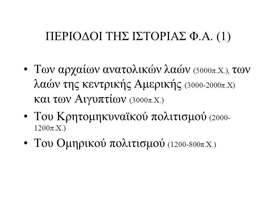 ΠΕΡΙΟΔΟΙ ΤΗΣ ΙΣΤΟΡΙΑΣ Φ.Α.