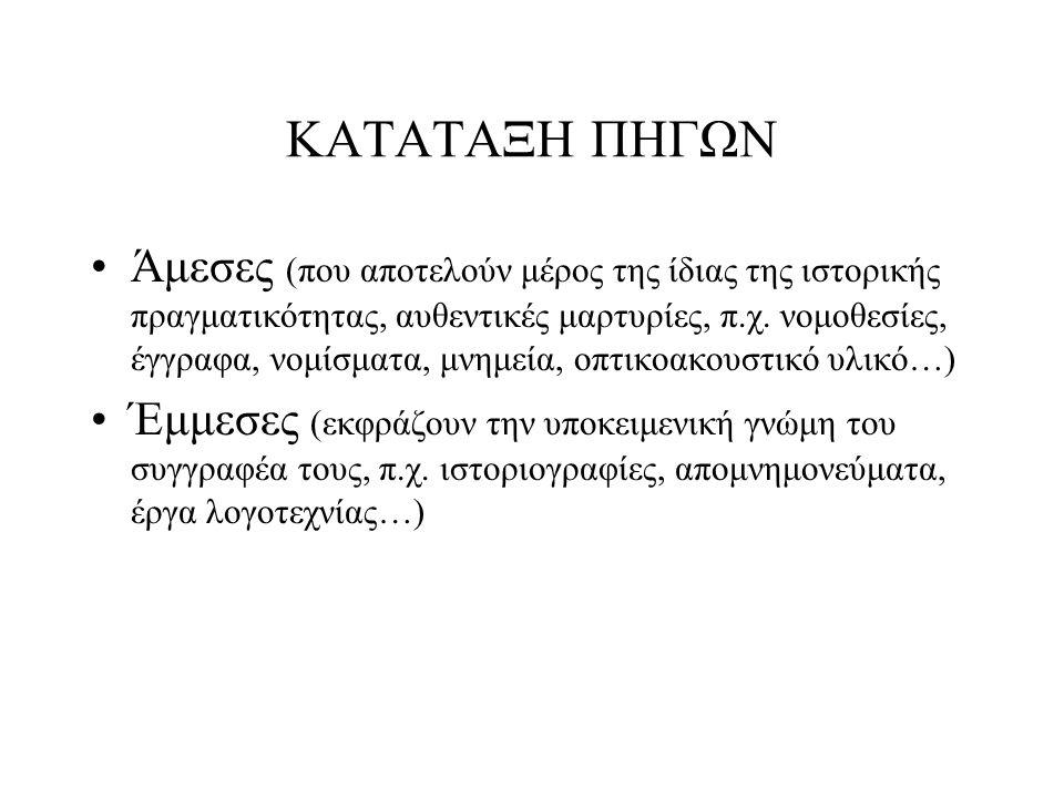 ΠΗΓΕΣ ΤΗΣ ΙΣΤΟΡΙΑΣ Γραπτά μνημεία Προφορική παράδοση Αρχαιολογικά και μνημεία τέχνης Οπτικοακουστικό υλικό