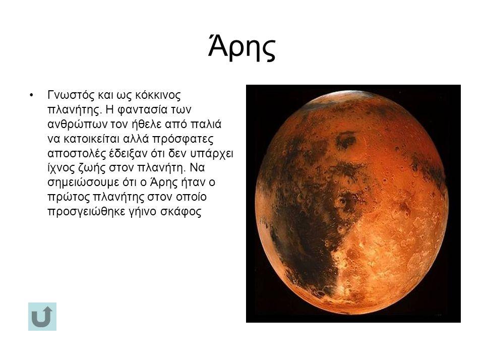 Άρης Γνωστός και ως κόκκινος πλανήτης.