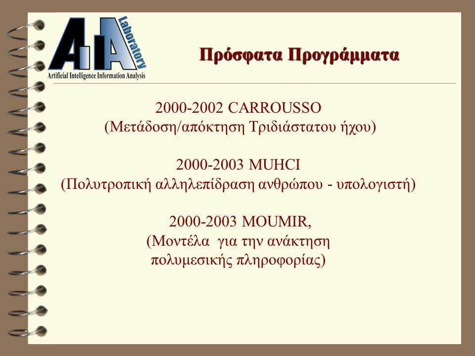 Πρόσφατα Προγράμματα 2000-2002 CARROUSSO (Μετάδοση/απόκτηση Τριδιάστατου ήχου) 2000-2003 MUHCI (Πολυτροπική αλληλεπίδραση ανθρώπου - υπολογιστή) 2000-2003 MOUMIR, (Μοντέλα για την ανάκτηση πολυμεσικής πληροφορίας)