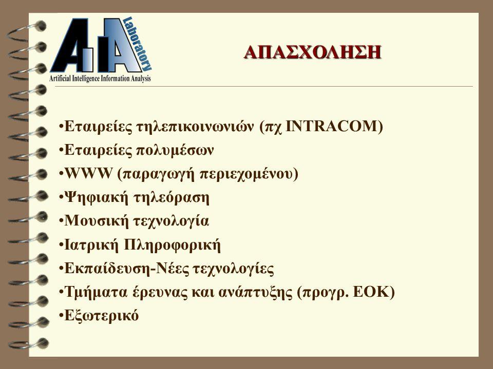 ΑΠΑΣΧΟΛΗΣΗ Εταιρείες τηλεπικοινωνιών (πχ INTRACOM) Εταιρείες πολυμέσων WWW (παραγωγή περιεχομένου) Ψηφιακή τηλεόραση Μουσική τεχνολογία Ιατρική Πληροφορική Εκπαίδευση-Νέες τεχνολογίες Τμήματα έρευνας και ανάπτυξης (προγρ.
