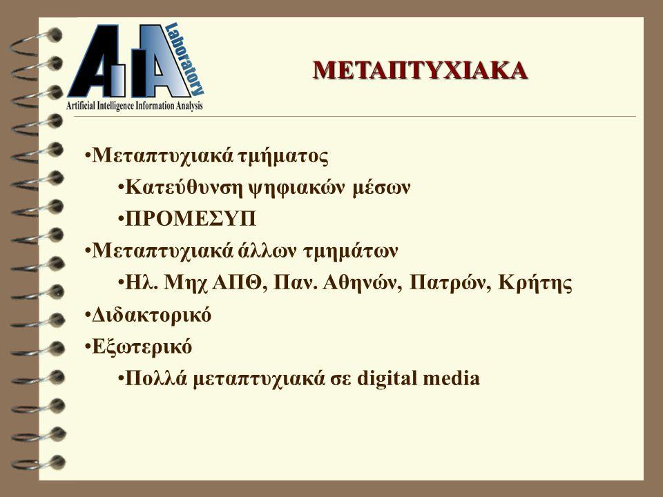 ΜΕΤΑΠΤΥΧΙΑΚΑ Μεταπτυχιακά τμήματος Κατεύθυνση ψηφιακών μέσων ΠΡΟΜΕΣΥΠ Μεταπτυχιακά άλλων τμημάτων Ηλ.