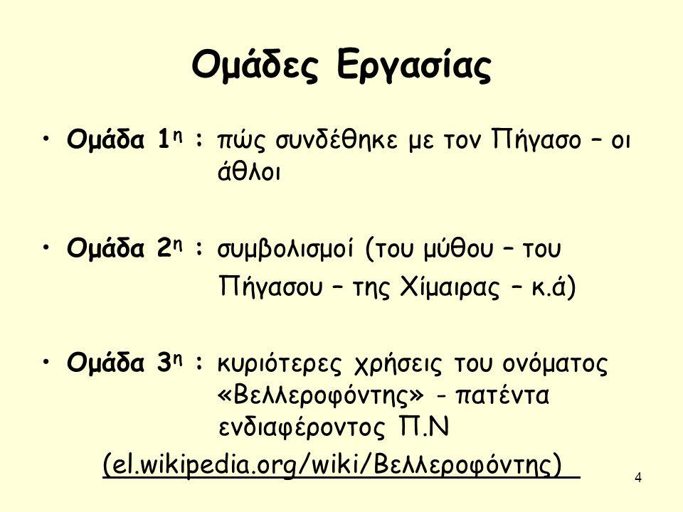 Ομάδες Εργασίας Ομάδα 1 η : πώς συνδέθηκε με τον Πήγασο – οι άθλοι Ομάδα 2 η : συμβολισμοί (του μύθου – του Πήγασου – της Χίμαιρας – κ.ά) Ομάδα 3 η :