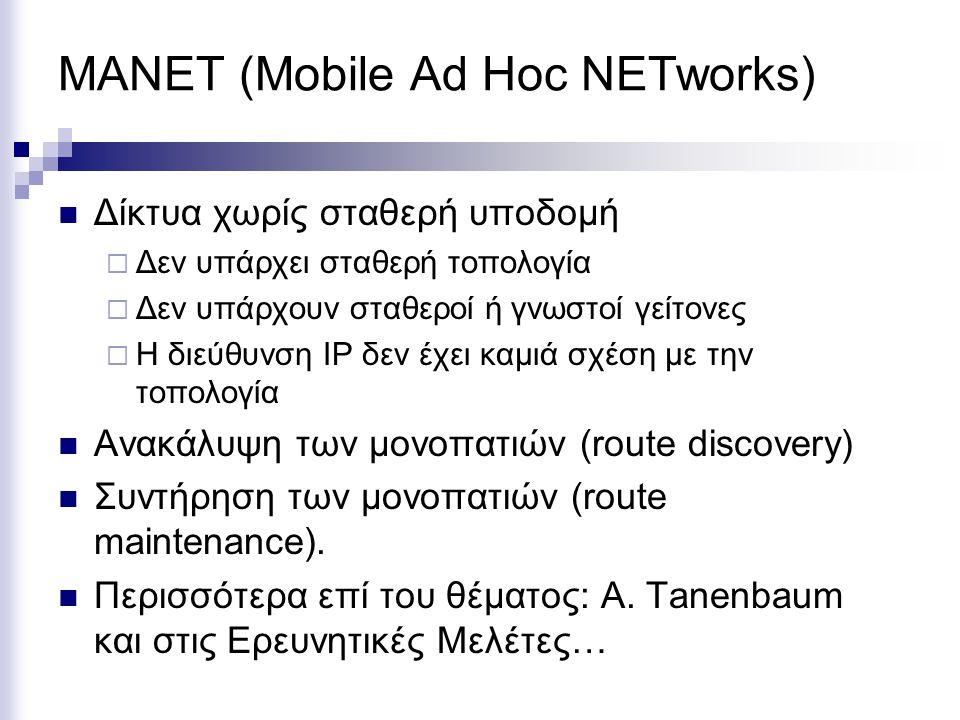 MANET (Mobile Ad Hoc NETworks) Δίκτυα χωρίς σταθερή υποδομή  Δεν υπάρχει σταθερή τοπολογία  Δεν υπάρχουν σταθεροί ή γνωστοί γείτονες  Η διεύθυνση I