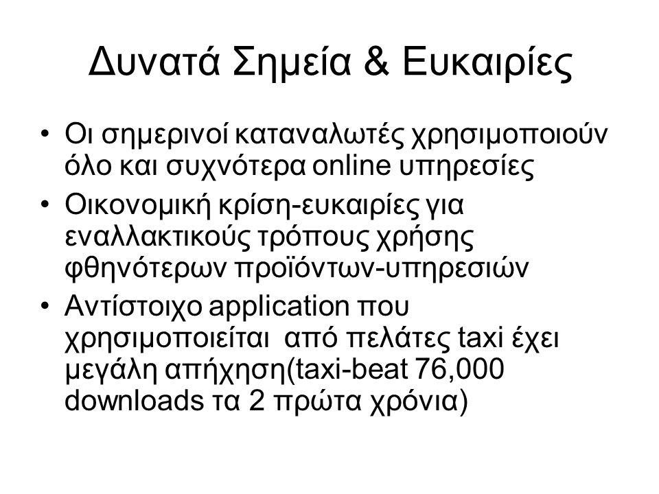 Δυνατά Σημεία & Ευκαιρίες Οι σημερινοί καταναλωτές χρησιμοποιούν όλο και συχνότερα online υπηρεσίες Οικονομική κρίση-ευκαιρίες για εναλλακτικούς τρόπους χρήσης φθηνότερων προϊόντων-υπηρεσιών Αντίστοιχο application που χρησιμοποιείται από πελάτες taxi έχει μεγάλη απήχηση(taxi-beat 76,000 downloads τα 2 πρώτα χρόνια)