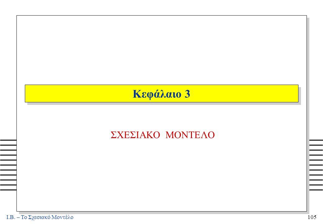 I.B. – Το Σχεσιακό Μοντέλο105 Κεφάλαιο 3 ΣΧΕΣΙΑΚΟ ΜΟΝΤΕΛΟ