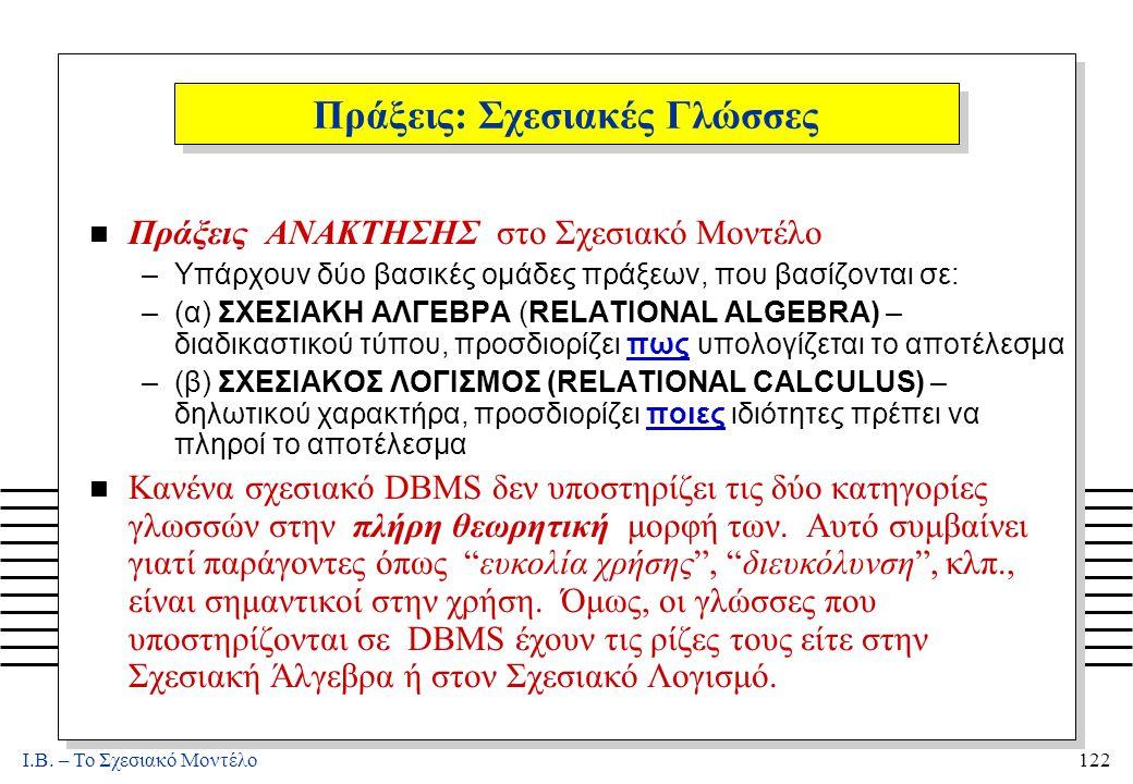 I.B. – Το Σχεσιακό Μοντέλο122 Πράξεις: Σχεσιακές Γλώσσες n Πράξεις ΑΝΑΚΤΗΣΗΣ στο Σχεσιακό Μοντέλο –Υπάρχουν δύο βασικές ομάδες πράξεων, που βασίζονται