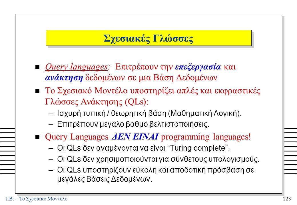 I.B. – Το Σχεσιακό Μοντέλο123 Σχεσιακές Γλώσσες n Query languages: Επιτρέπουν την επεξεργασία και ανάκτηση δεδομένων σε μια Βάση Δεδομένων n Το Σχεσια