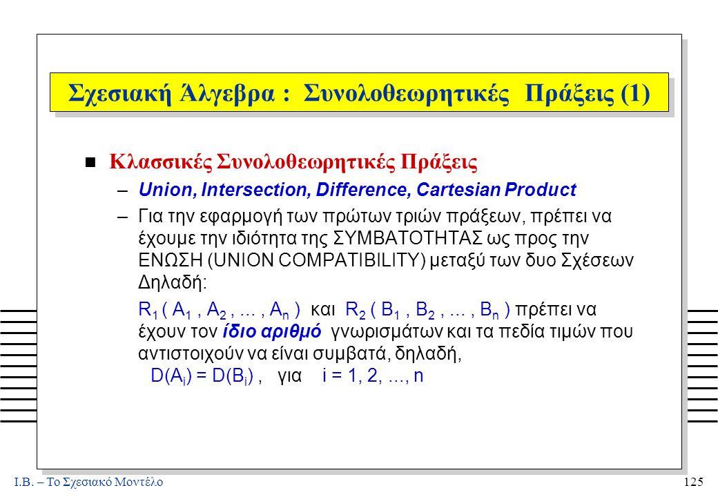 I.B. – Το Σχεσιακό Μοντέλο125 Σχεσιακή Άλγεβρα : Συνολοθεωρητικές Πράξεις (1) n Κλασσικές Συνολοθεωρητικές Πράξεις –Union, Intersection, Difference, C