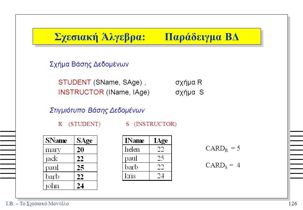 I.B. – Το Σχεσιακό Μοντέλο126 Σχεσιακή Άλγεβρα: Παράδειγμα ΒΔ Σχήμα Βάσης Δεδομένων STUDENT (SName, SAge), σχήμα R INSTRUCTOR (IName, IAge) σχήμα S Στ