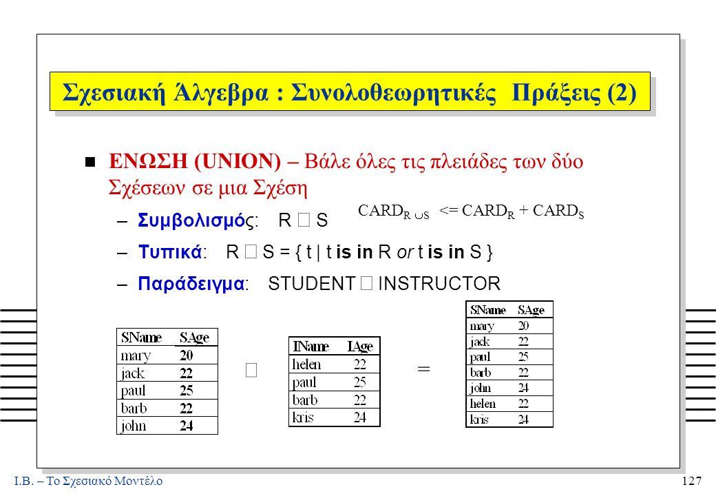 I.B. – Το Σχεσιακό Μοντέλο127 Σχεσιακή Άλγεβρα : Συνολοθεωρητικές Πράξεις (2) n ΕΝΩΣΗ (UNION) – Βάλε όλες τις πλειάδες των δύο Σχέσεων σε μια Σχέση –Σ