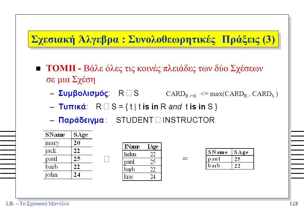 I.B. – Το Σχεσιακό Μοντέλο128 Σχεσιακή Άλγεβρα : Συνολοθεωρητικές Πράξεις (3) n ΤΟΜΗ - Βάλε όλες τις κοινές πλειάδες των δύο Σχέσεων σε μια Σχέση –Συμ