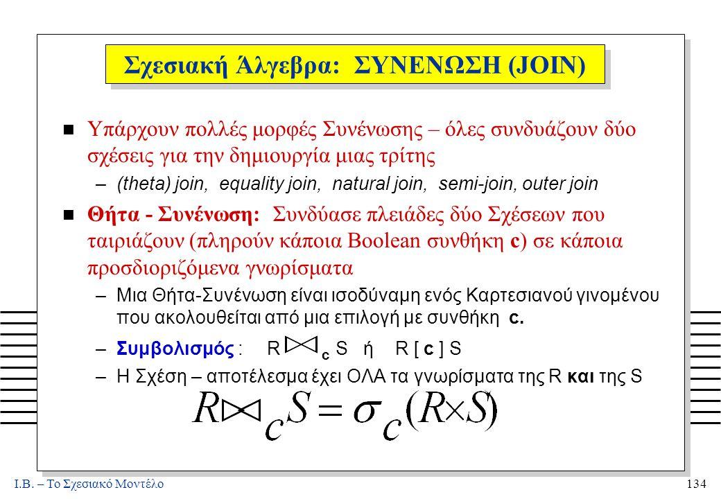 I.B. – Το Σχεσιακό Μοντέλο134 Σχεσιακή Άλγεβρα: ΣΥΝΕΝΩΣΗ (JOIN) n Υπάρχουν πολλές μορφές Συνένωσης – όλες συνδυάζουν δύο σχέσεις για την δημιουργία μι