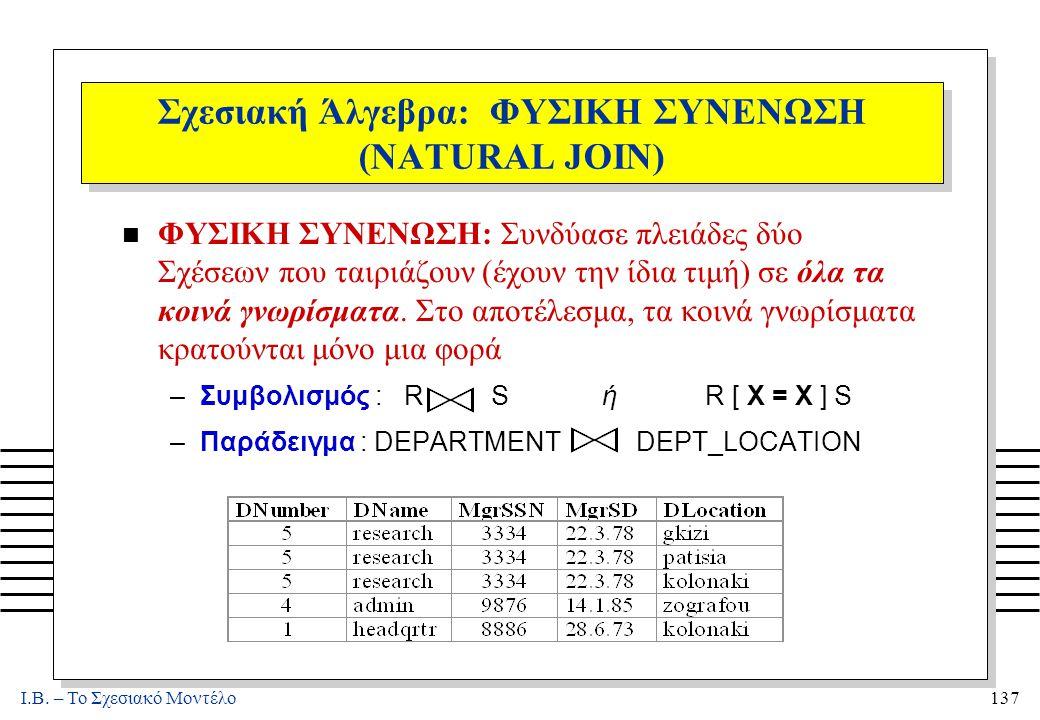 I.B. – Το Σχεσιακό Μοντέλο137 Σχεσιακή Άλγεβρα: ΦΥΣΙΚΗ ΣΥΝΕΝΩΣΗ (NATURAL JOIN) n ΦΥΣΙΚΗ ΣΥΝΕΝΩΣΗ: Συνδύασε πλειάδες δύο Σχέσεων που ταιριάζουν (έχουν