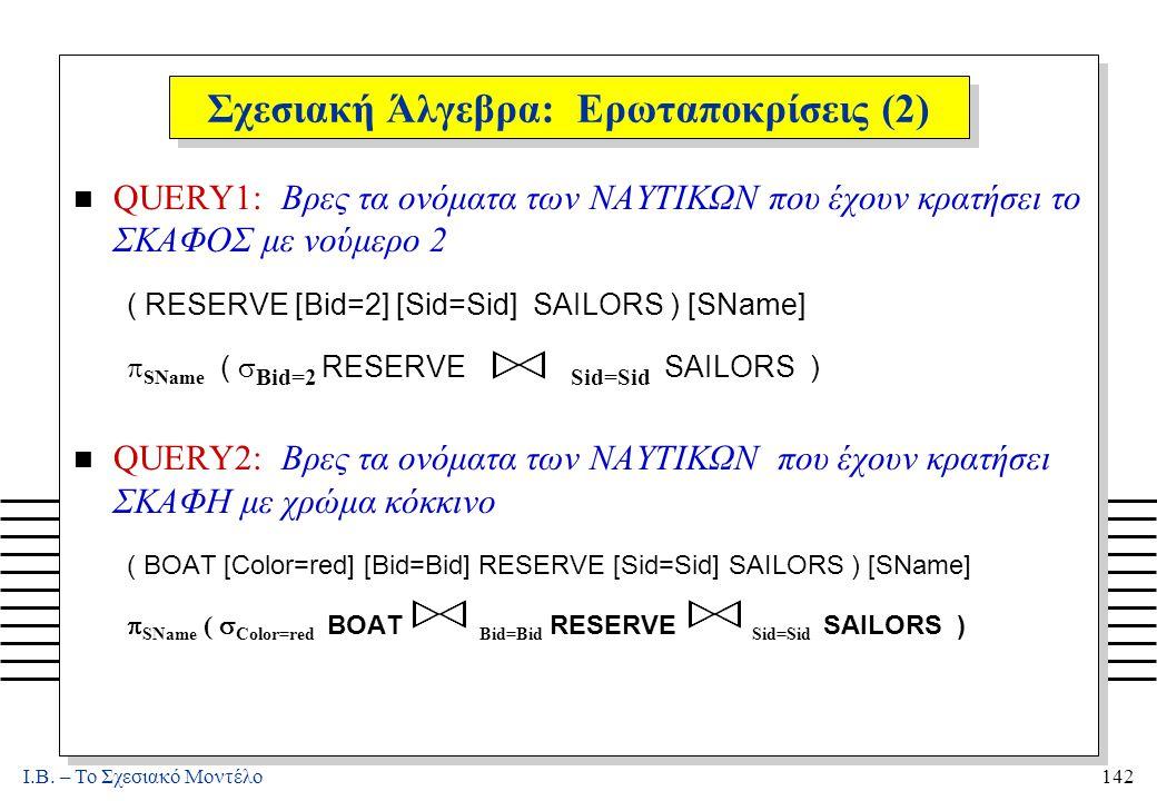I.B. – Το Σχεσιακό Μοντέλο142 Σχεσιακή Άλγεβρα: Ερωταποκρίσεις (2) n QUERY1: Βρες τα ονόματα των ΝΑΥΤΙΚΩΝ που έχουν κρατήσει το ΣΚΑΦΟΣ με νούμερο 2 (