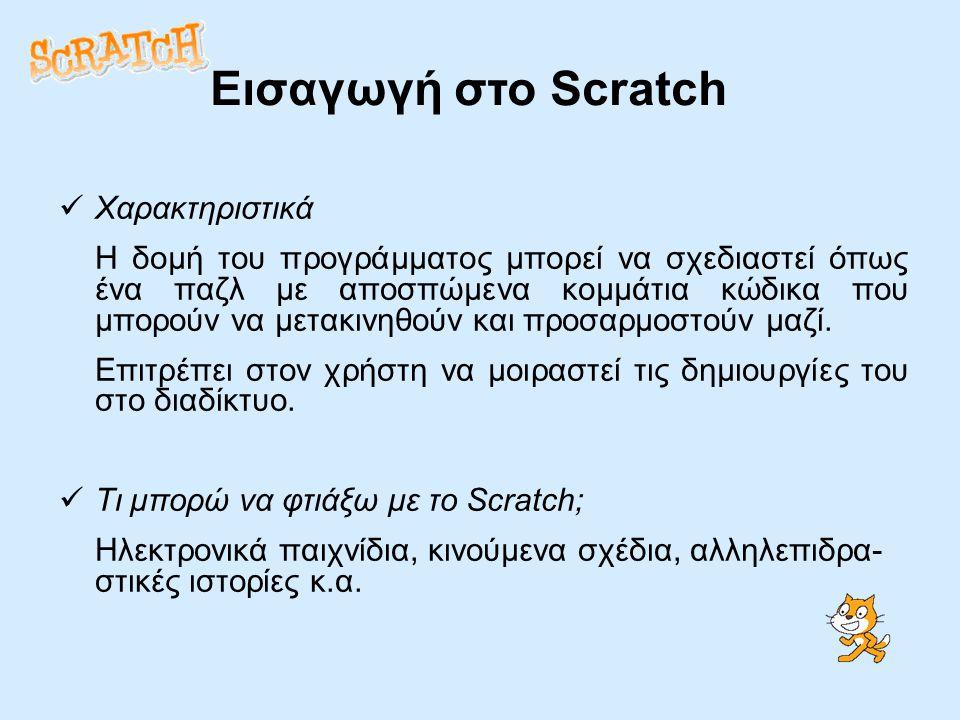 Εισαγωγή στο Scratch Χαρακτηριστικά Η δομή του προγράμματος μπορεί να σχεδιαστεί όπως ένα παζλ με αποσπώμενα κομμάτια κώδικα που μπορούν να μετακινηθούν και προσαρμοστούν μαζί.