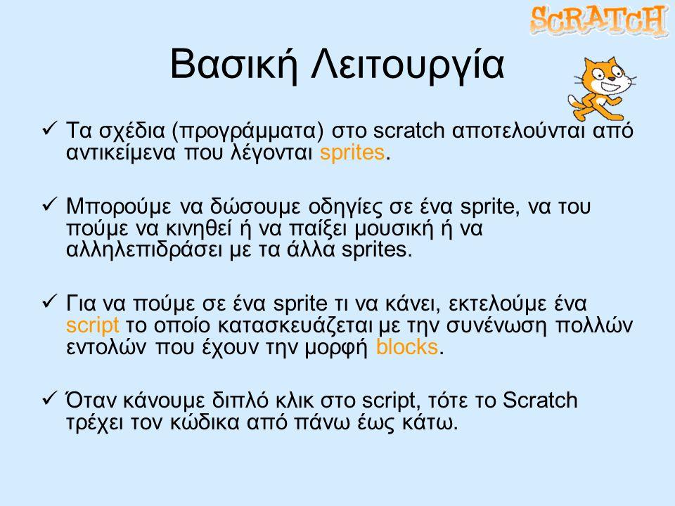 Βασική Λειτουργία Τα σχέδια (προγράμματα) στο scratch αποτελούνται από αντικείμενα που λέγονται sprites.