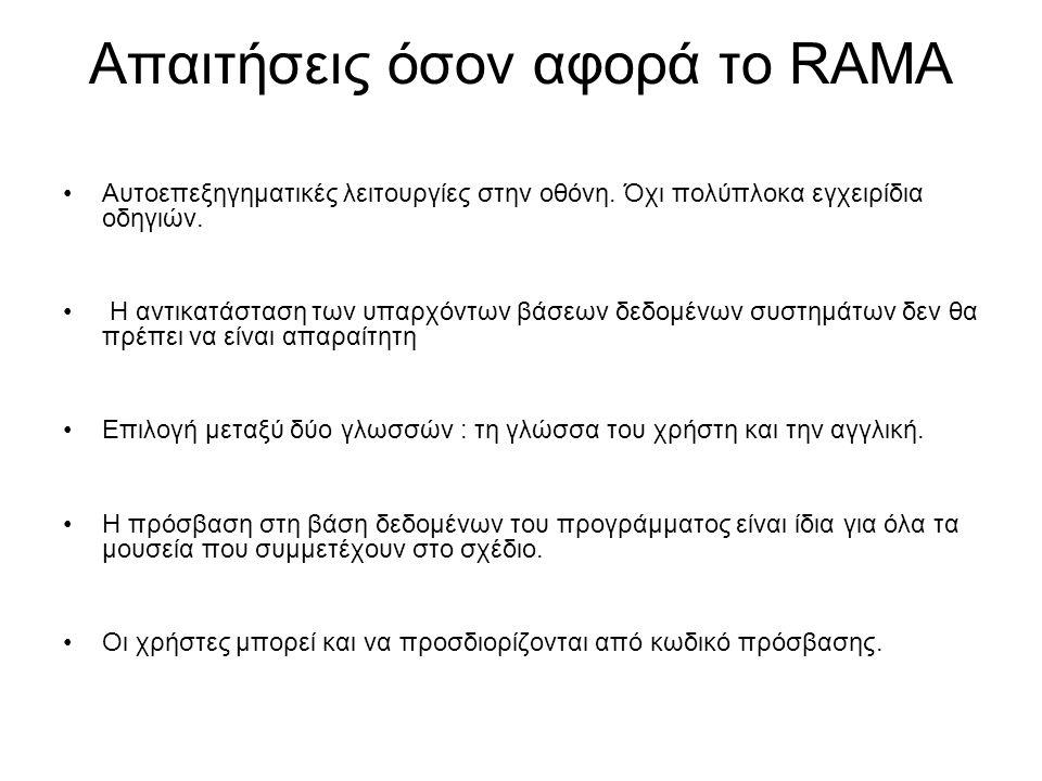 Απαιτήσεις όσον αφορά το RAMA Αυτοεπεξηγηματικές λειτουργίες στην οθόνη.