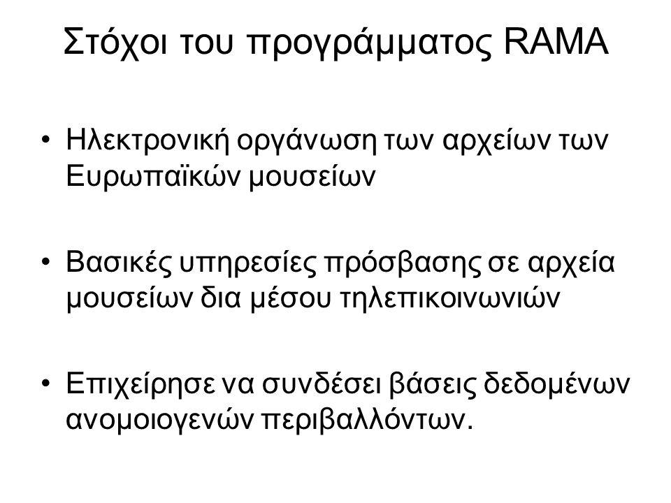 Στόχοι του προγράμματος RAMA Ηλεκτρονική οργάνωση των αρχείων των Ευρωπαϊκών μουσείων Βασικές υπηρεσίες πρόσβασης σε αρχεία μουσείων δια μέσου τηλεπικοινωνιών Επιχείρησε να συνδέσει βάσεις δεδομένων ανομοιογενών περιβαλλόντων.