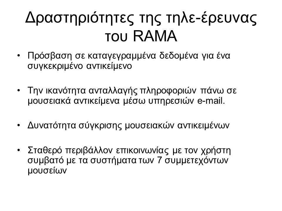 Δραστηριότητες της τηλε-έρευνας του RAMA Πρόσβαση σε καταγεγραμμένα δεδομένα για ένα συγκεκριμένο αντικείμενο Την ικανότητα ανταλλαγής πληροφοριών πάνω σε μουσειακά αντικείμενα μέσω υπηρεσιών e-mail.