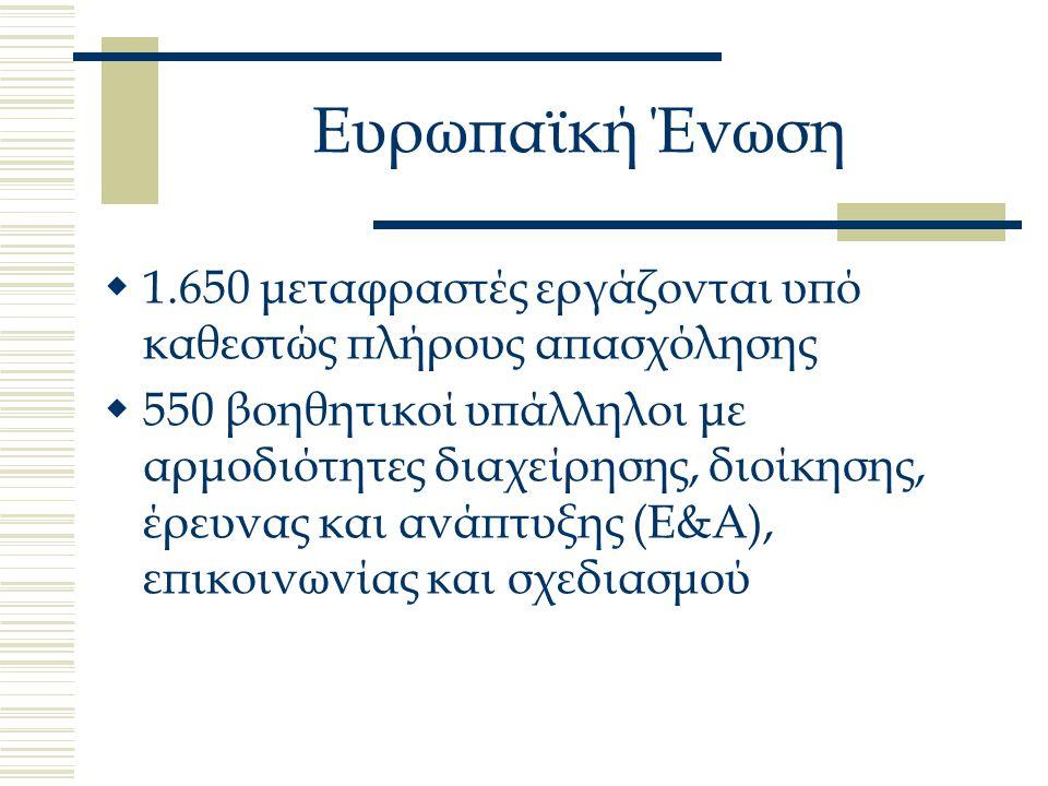 Ευρωπαϊκή Ένωση  1.650 μεταφραστές εργάζονται υπό καθεστώς πλήρους απασχόλησης  550 βοηθητικοί υπάλληλοι με αρμοδιότητες διαχείρησης, διοίκησης, έρευνας και ανάπτυξης (Ε&Α), επικοινωνίας και σχεδιασμού