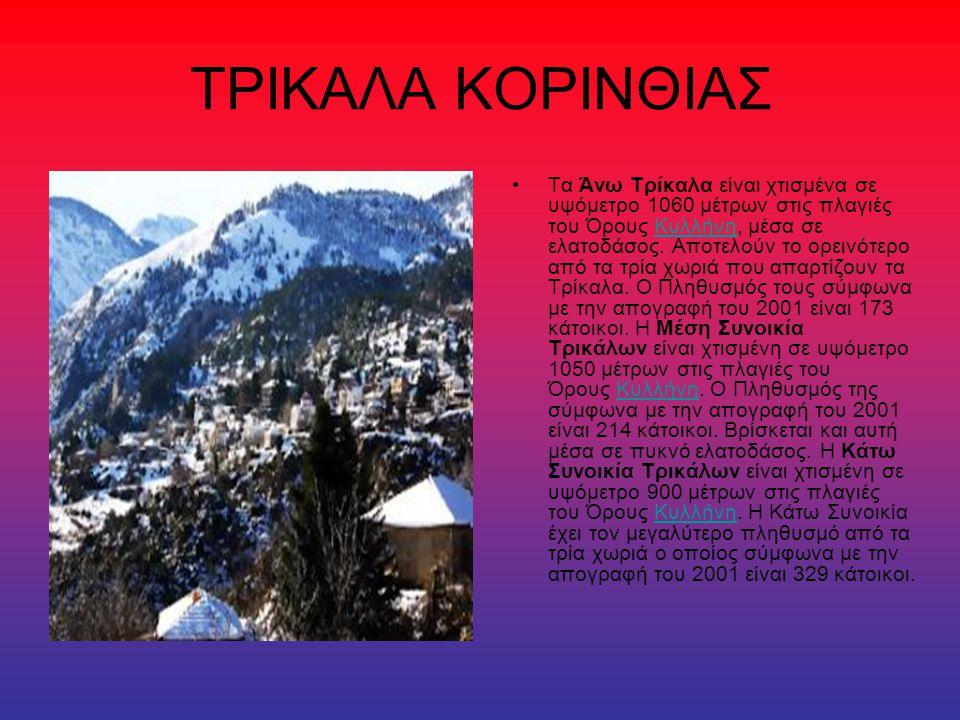 ΤΡΙΚΑΛΑ ΚΟΡΙΝΘΙΑΣ Τα Άνω Τρίκαλα είναι χτισμένα σε υψόμετρο 1060 μέτρων στις πλαγιές του Όρους Κυλλήνη, μέσα σε ελατοδάσος. Αποτελούν το ορεινότερο απ