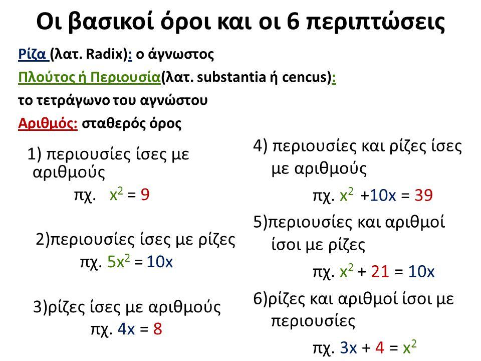 Πρόβλημα 1 Περιουσίες και αριθμοί είναι ίσα με ρίζες: (Της μορφής: x 2 + b= ax ) Μια περιουσία και ο αριθμός 21 είναι ίσα με 10 ρίζες της ίδιας.